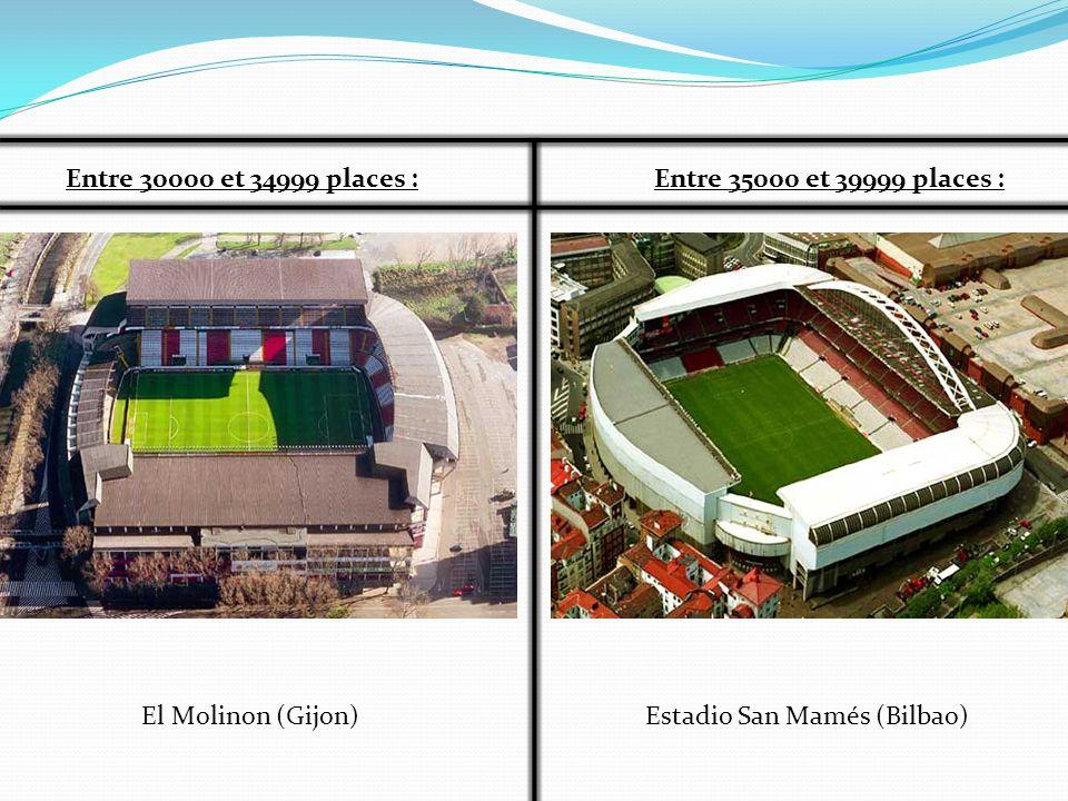 Entre 30000 et 34999 places :Entre 35000 et 39999 places : Estadio San Mamés (Bilbao)El Molinon (Gijon)
