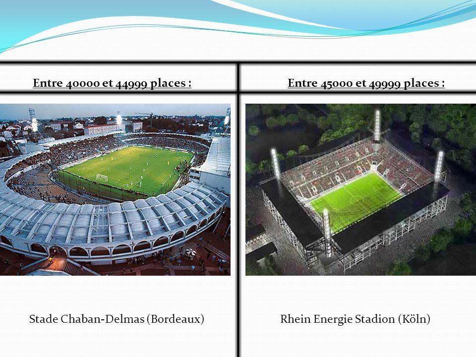 Entre 40000 et 44999 places :Entre 45000 et 49999 places : Rhein Energie Stadion (Köln)Stade Chaban-Delmas (Bordeaux)