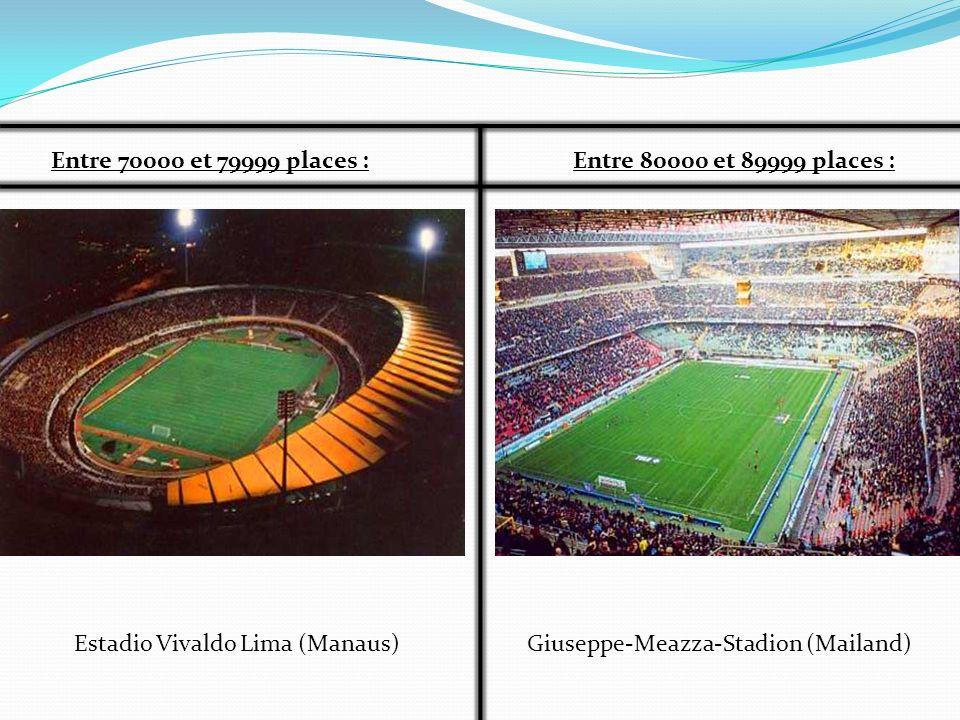 Entre 70000 et 79999 places :Entre 80000 et 89999 places : Estadio Vivaldo Lima (Manaus)Giuseppe-Meazza-Stadion (Mailand)