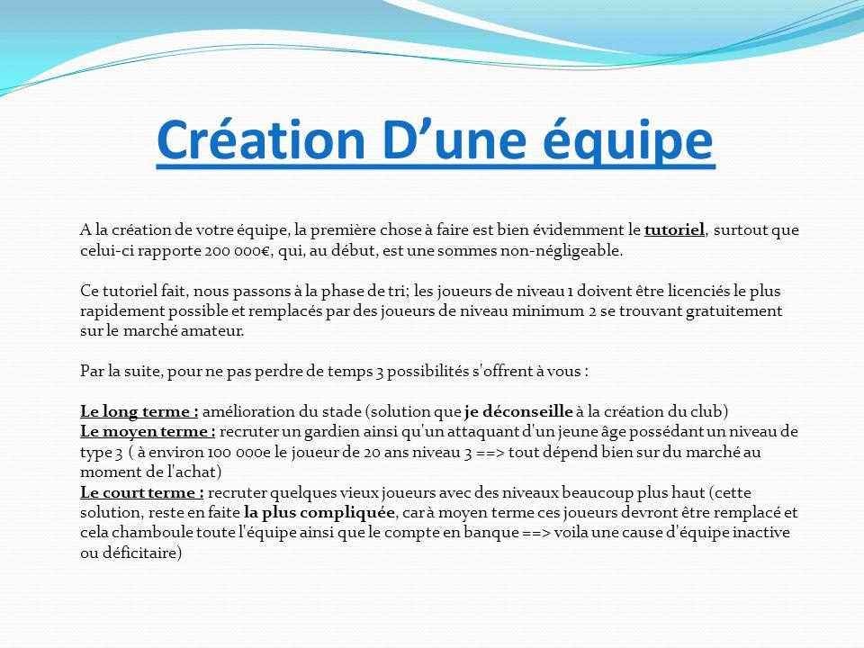 Création Dune équipe A la création de votre équipe, la première chose à faire est bien évidemment le tutoriel, surtout que celui-ci rapporte 200 000,