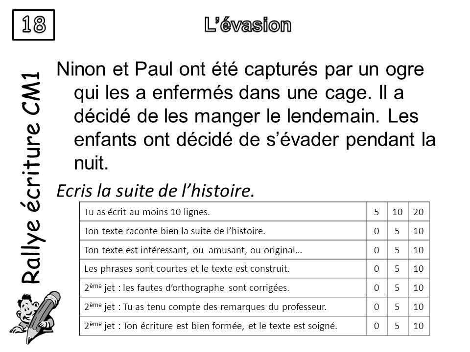 Rallye écriture CM1 Ninon et Paul ont été capturés par un ogre qui les a enfermés dans une cage. Il a décidé de les manger le lendemain. Les enfants o