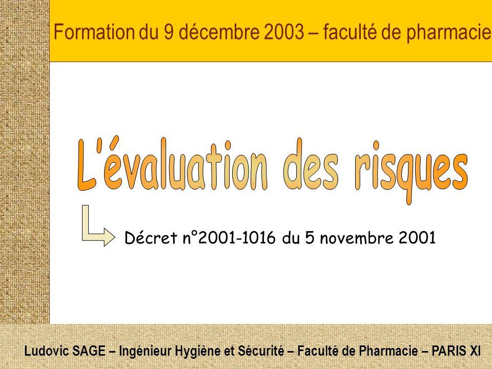 Formation du 9 décembre 2003 – faculté de pharmacie Décret n°2001-1016 du 5 novembre 2001 Ludovic SAGE – Ingénieur Hygiène et Sécurité – Faculté de Pharmacie – PARIS XI