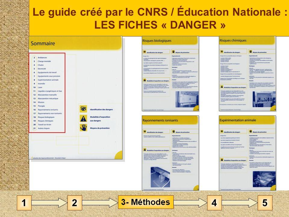 Le guide créé par le CNRS / Éducation Nationale : LES FICHES « DANGER » 3- Méthodes 1452