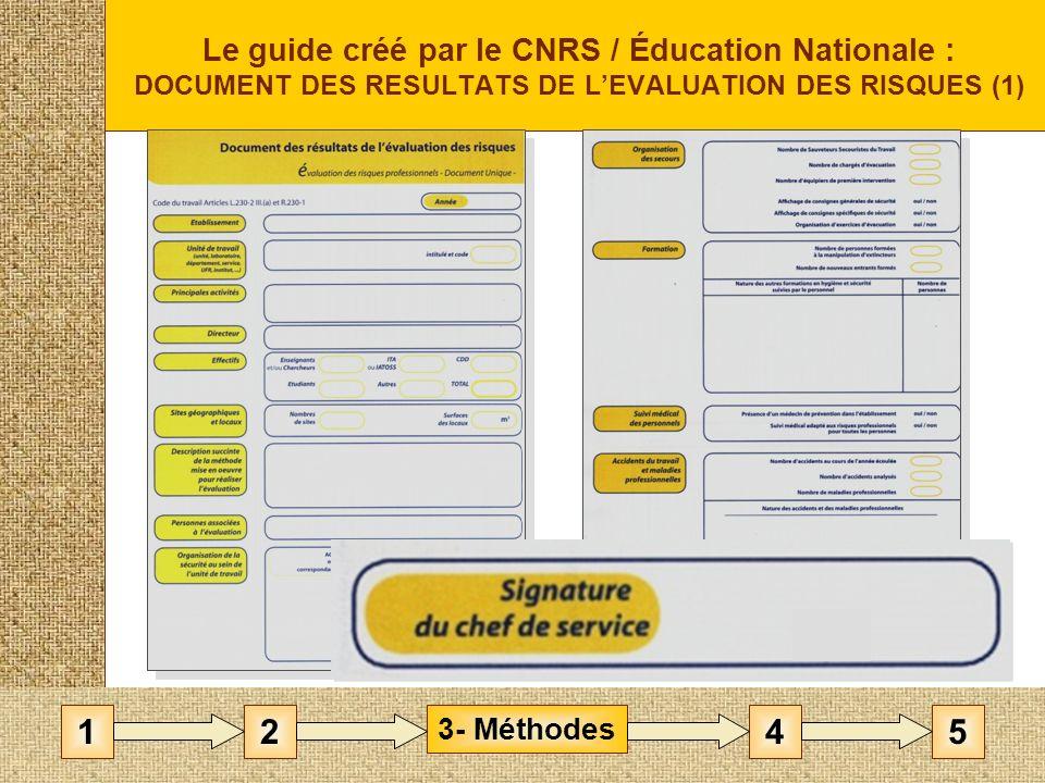 Le guide créé par le CNRS / Éducation Nationale : DOCUMENT DES RESULTATS DE LEVALUATION DES RISQUES (1) 3- Méthodes 1452