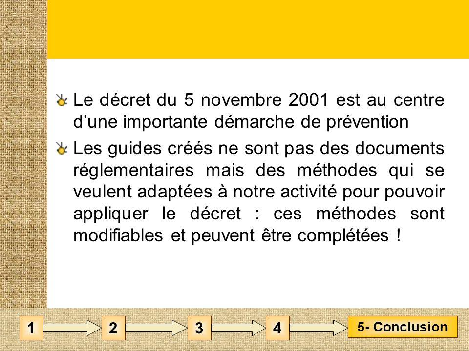 Le décret du 5 novembre 2001 est au centre dune importante démarche de prévention Les guides créés ne sont pas des documents réglementaires mais des méthodes qui se veulent adaptées à notre activité pour pouvoir appliquer le décret : ces méthodes sont modifiables et peuvent être complétées .