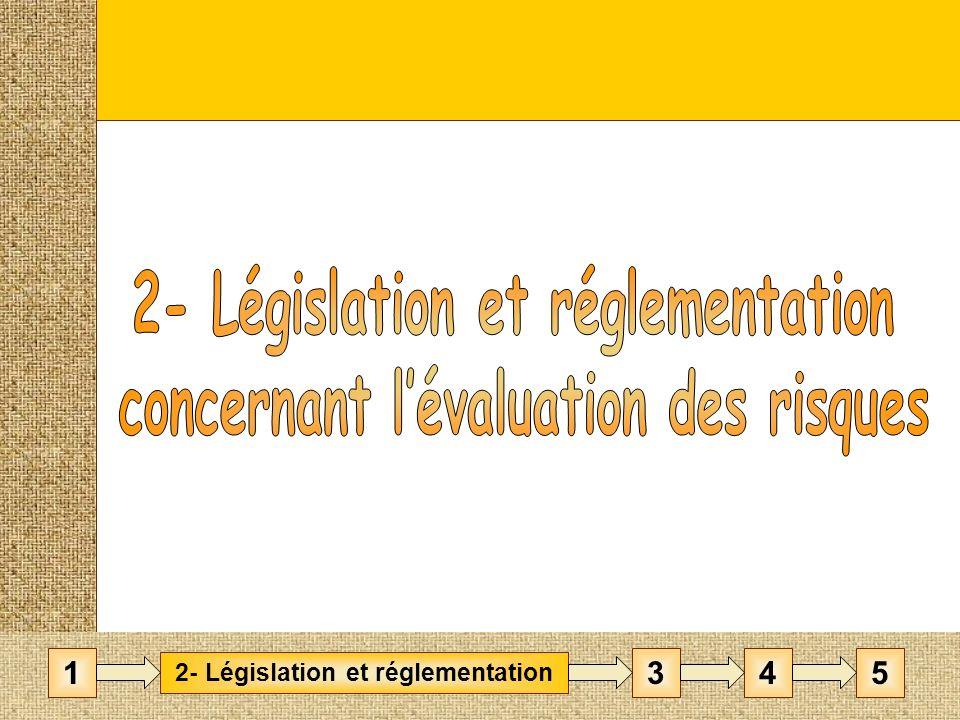 Directive, loi et décret Directive n°89/391/CEE du 12 juin 1989 Décret n°2001-1016 du 5 novembre 2001 Loi n°91-1414 du 31 décembre 1991 Droit communautaire Droit français Transposition en droit français EVALUATION DES RISQUES Décret dapplication Code du travail : Art R.230-1 : création dun « document unique » Art R.263-1-1 : dispositif de sanctions pénales 2- Législation et réglementation 1453