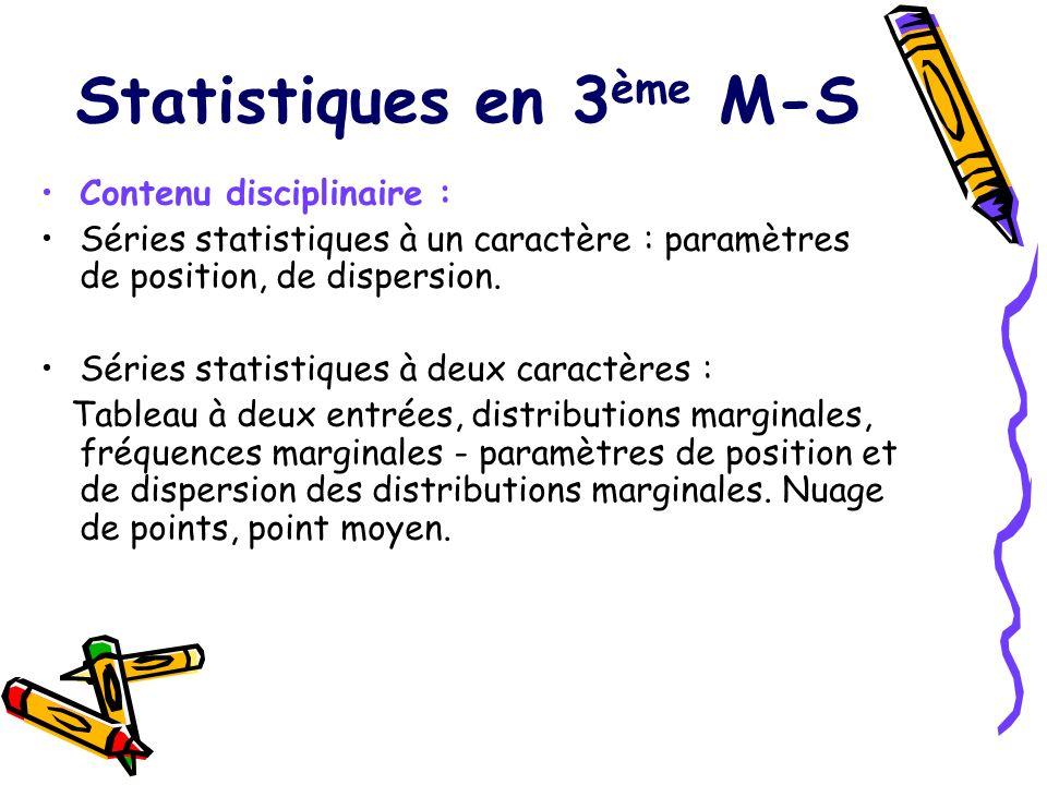 Statistiques en 3 ème M-S Contenu disciplinaire : Séries statistiques à un caractère : paramètres de position, de dispersion. Séries statistiques à de