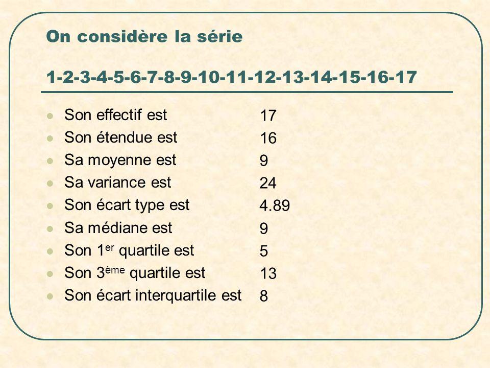 On considère la série 1-2-3-4-5-6-7-8-9-10-11-12-13-14-15-16-17 Son effectif est Son étendue est Sa moyenne est Sa variance est Son écart type est Sa