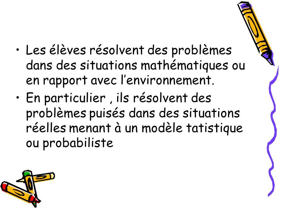 Les élèves résolvent des problèmes dans des situations mathématiques ou en rapport avec lenvironnement. En particulier, ils résolvent des problèmes pu