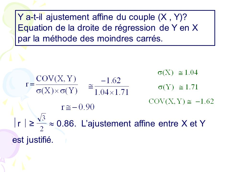 Y a-t-il ajustement affine du couple (X, Y).