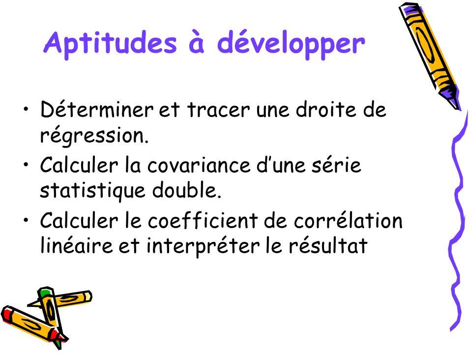Aptitudes à développer Déterminer et tracer une droite de régression. Calculer la covariance dune série statistique double. Calculer le coefficient de
