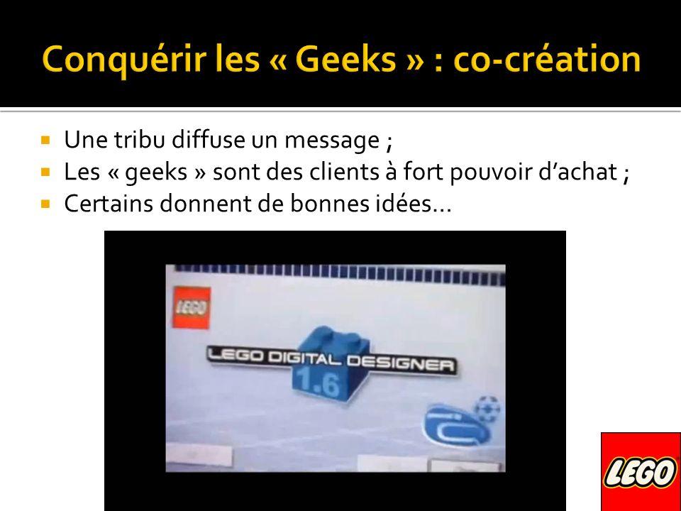 Une tribu diffuse un message ; Les « geeks » sont des clients à fort pouvoir dachat ; Certains donnent de bonnes idées…
