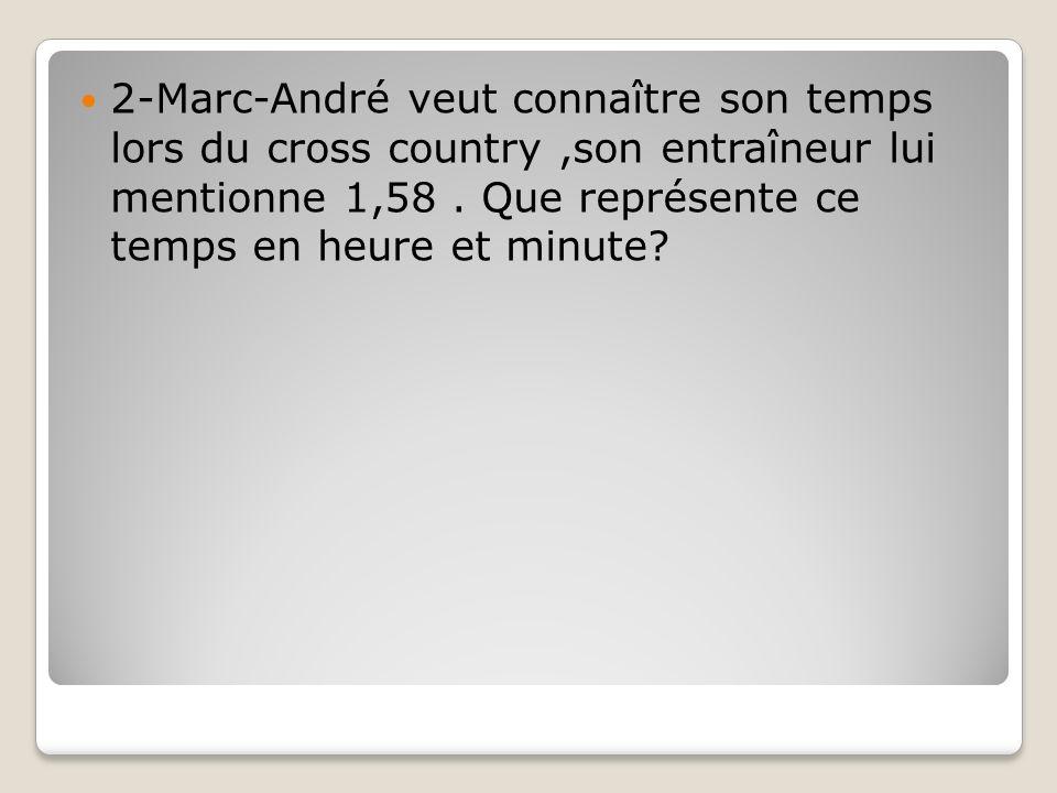 2-Marc-André veut connaître son temps lors du cross country,son entraîneur lui mentionne 1,58. Que représente ce temps en heure et minute?