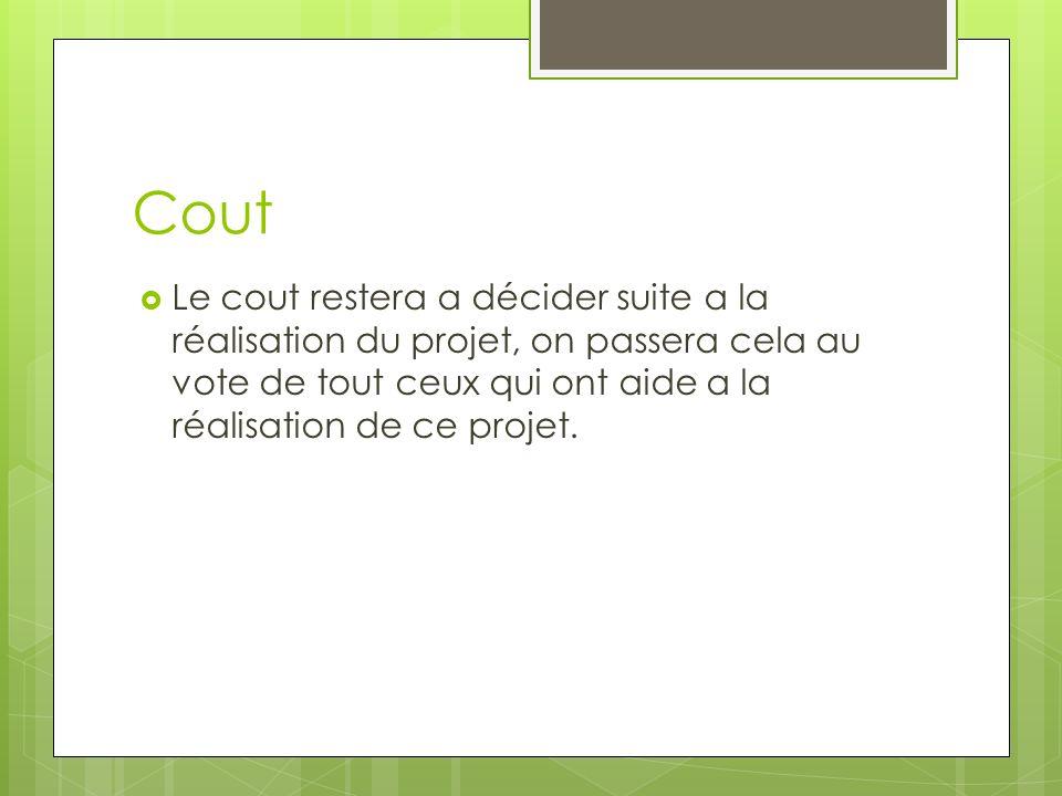 Cout Le cout restera a décider suite a la réalisation du projet, on passera cela au vote de tout ceux qui ont aide a la réalisation de ce projet.