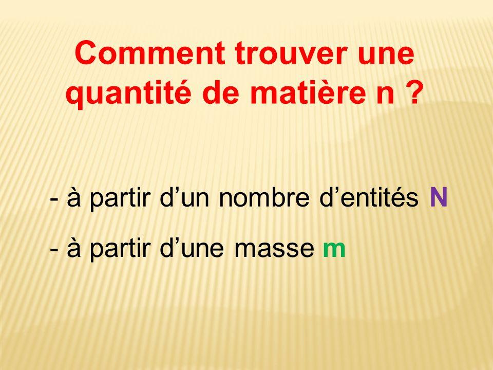 Comment trouver une quantité de matière n ? - à partir dun nombre dentités N - à partir dune masse m