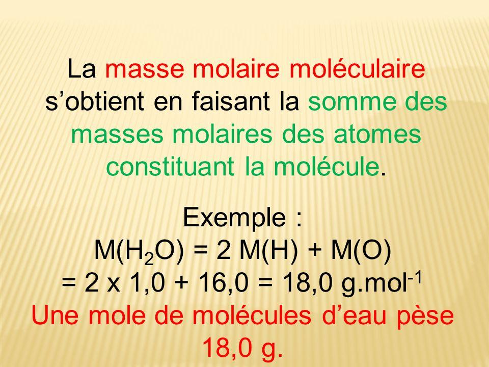 La masse molaire moléculaire sobtient en faisant la somme des masses molaires des atomes constituant la molécule. Exemple : M(H 2 O) = 2 M(H) + M(O) =