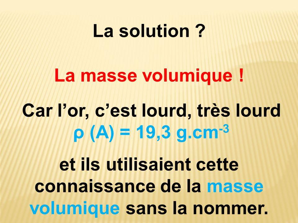 La solution ? Car lor, cest lourd, très lourd ρ (A) = 19,3 g.cm -3 La masse volumique ! et ils utilisaient cette connaissance de la masse volumique sa