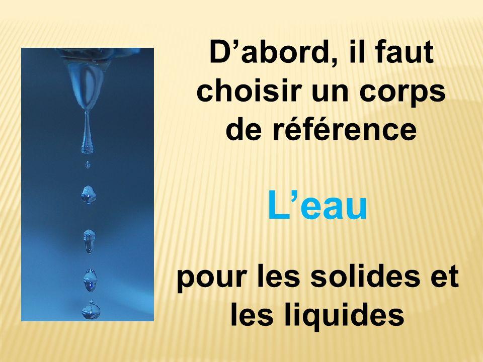 Dabord, il faut choisir un corps de référence Leau pour les solides et les liquides