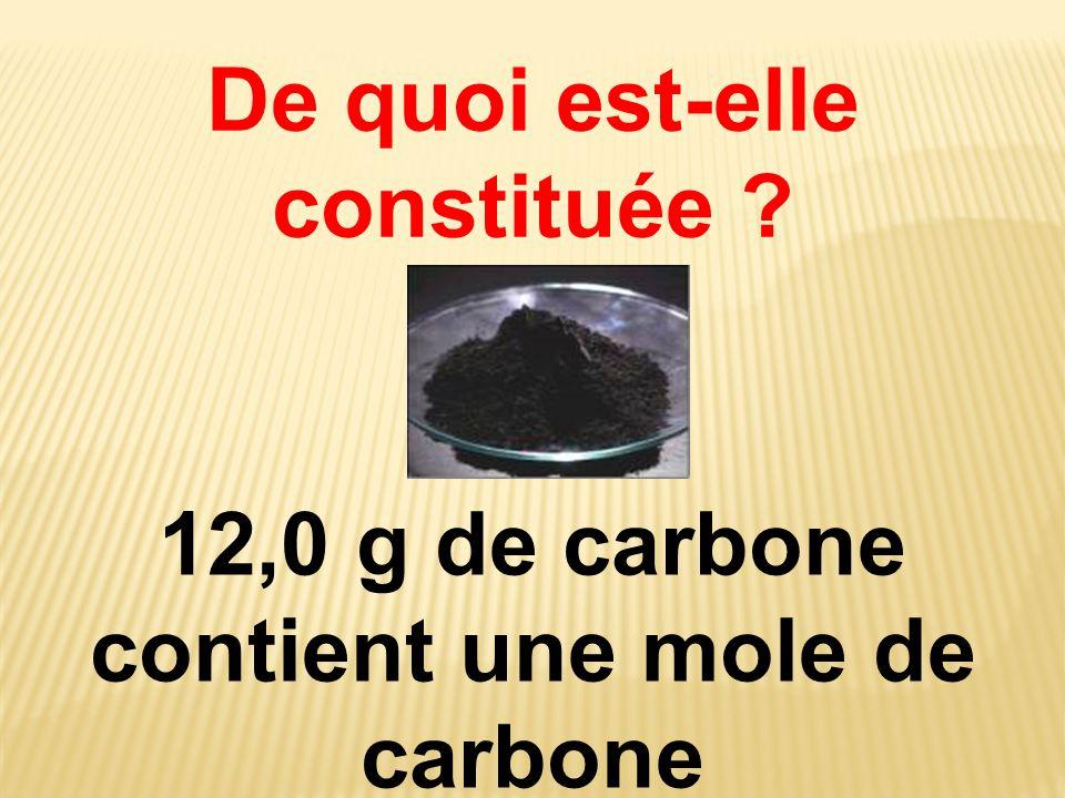 De quoi est-elle constituée ? 12,0 g de carbone contient une mole de carbone