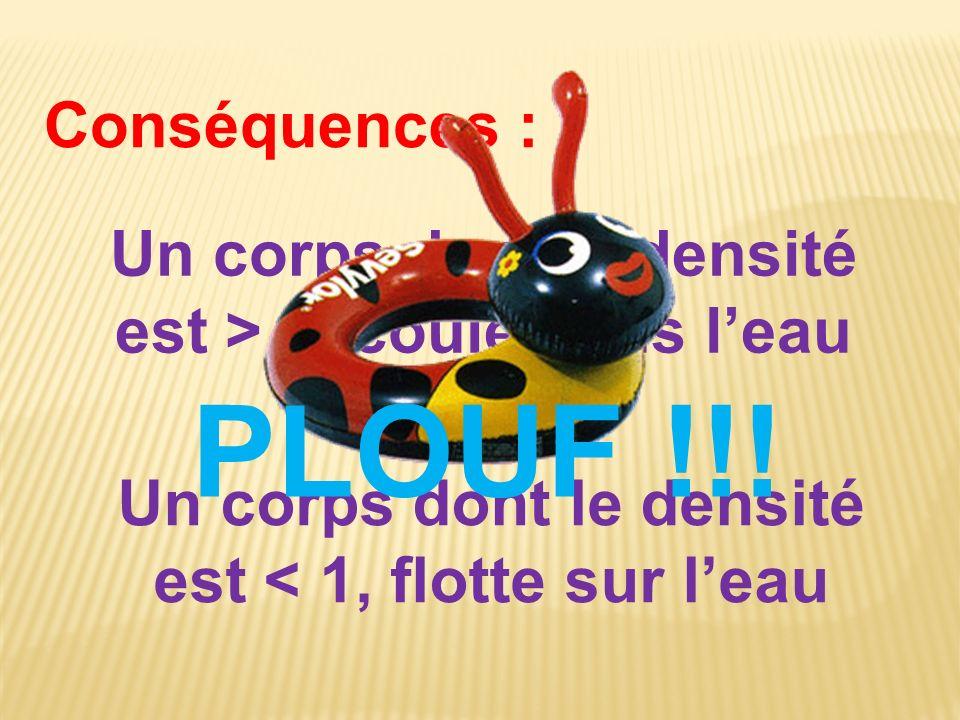 Conséquences : Un corps dont le densité est > 1, coule dans leau Un corps dont le densité est < 1, flotte sur leau PLOUF !!!