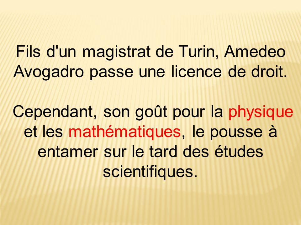 Fils d'un magistrat de Turin, Amedeo Avogadro passe une licence de droit. Cependant, son goût pour la physique et les mathématiques, le pousse à entam