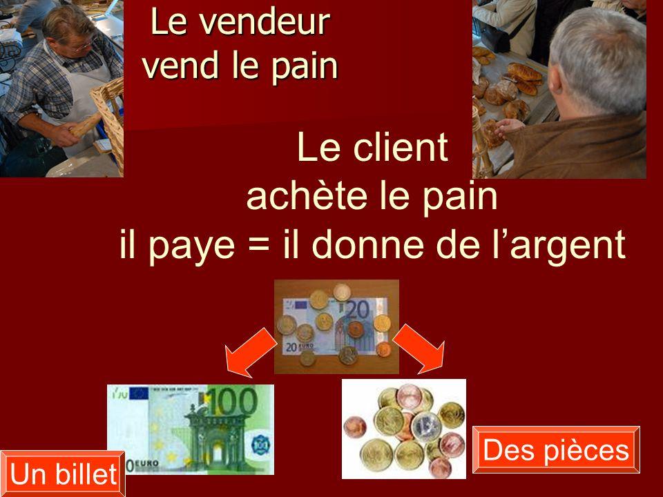 Le vendeur vend le pain Le client achète le pain il paye = il donne de largent Un billet Des pièces