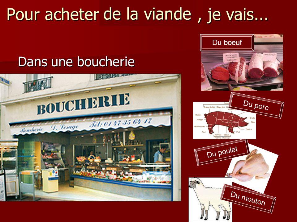 Pour acheter de la viande, je vais... Dans une boucherie Du boeuf Du poulet Du porc Du mouton de la viande