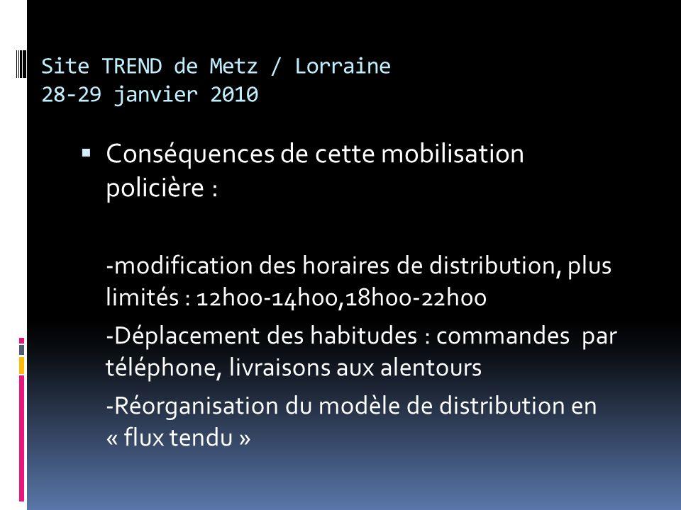 Site TREND de Metz / Lorraine 28-29 janvier 2010 Conséquences de cette mobilisation policière : -modification des horaires de distribution, plus limités : 12h00-14h00,18h00-22h00 -Déplacement des habitudes : commandes par téléphone, livraisons aux alentours -Réorganisation du modèle de distribution en « flux tendu »