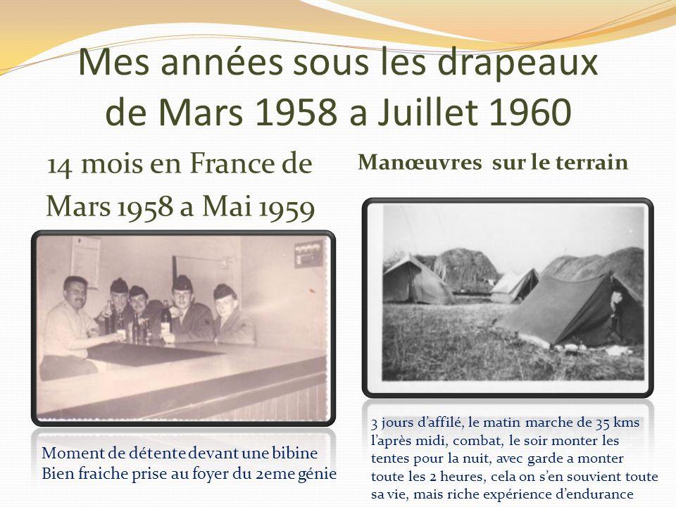 Mes années sous les drapeaux de Mars 1958 a Juillet 1960 Sur le terrain apprentissage Lors des manœuvres Apprentissage a la pose de mines de tous genr