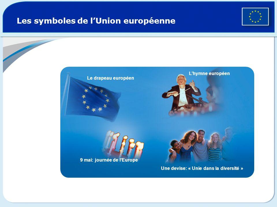 Les symboles de lUnion européenne Le drapeau européen Lhymne européen 9 mai: journée de lEurope Une devise: « Unie dans la diversité »