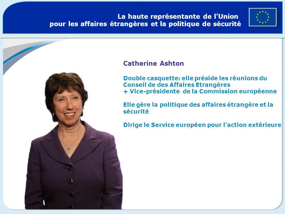 La haute représentante de lUnion pour les affaires étrangères et la politique de sécurité Catherine Ashton Double casquette: elle préside les réunions