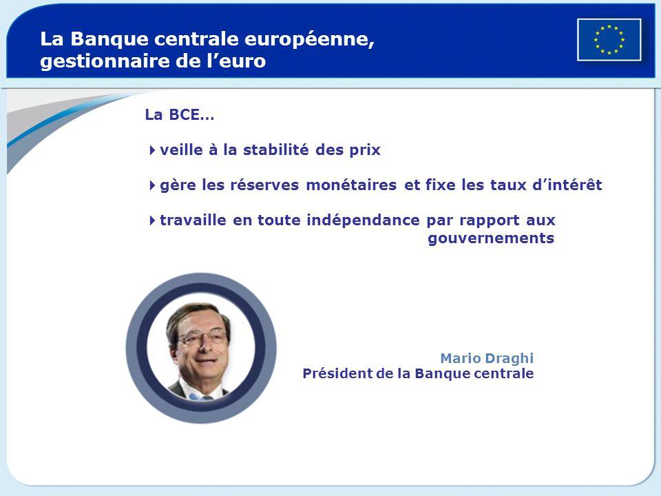 La BCE… veille à la stabilité des prix gère les réserves monétaires et fixe les taux dintérêt travaille en toute indépendance par rapport aux gouverne