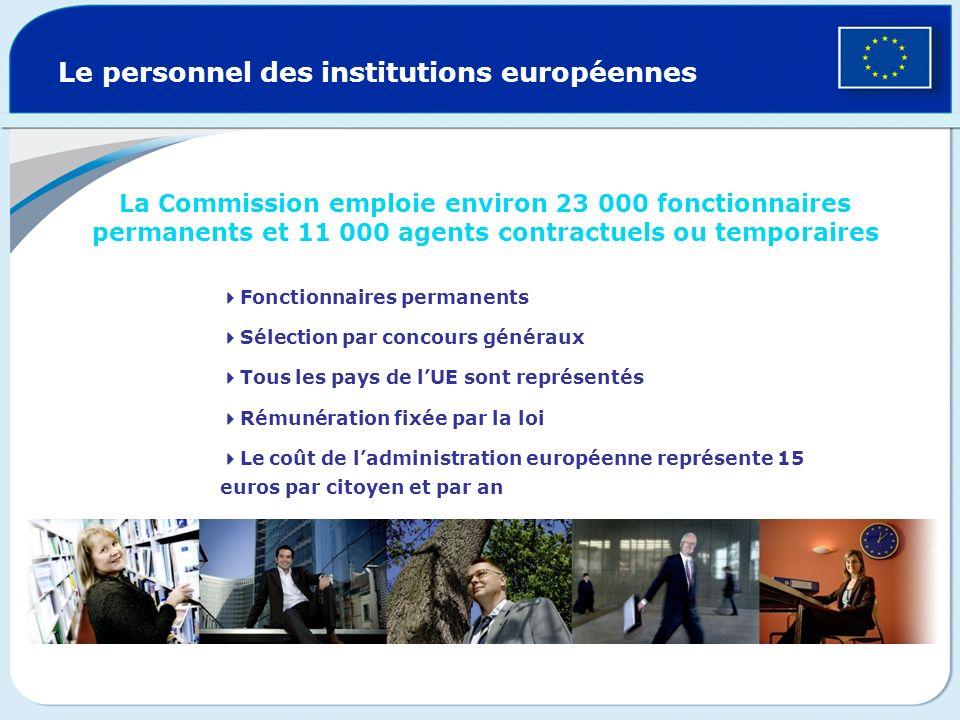 Le personnel des institutions européennes La Commission emploie environ 23 000 fonctionnaires permanents et 11 000 agents contractuels ou temporaires