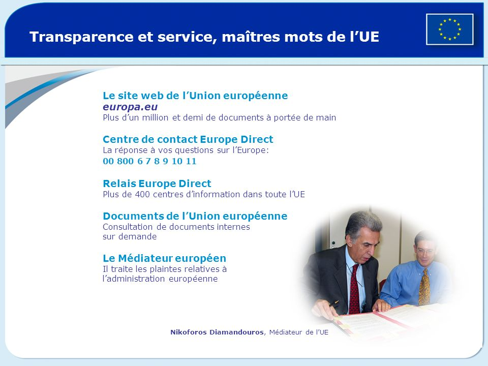 Transparence et service, maîtres mots de lUE Le site web de lUnion européenne europa.eu Plus dun million et demi de documents à portée de main Centre