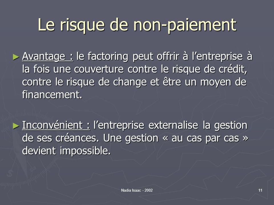 Nadia Isaac - 200211 Le risque de non-paiement Avantage : le factoring peut offrir à lentreprise à la fois une couverture contre le risque de crédit,