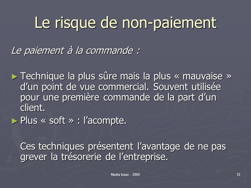 Nadia Isaac - 200212 Le risque de non-paiement Le paiement à la commande : Technique la plus sûre mais la plus « mauvaise » dun point de vue commercia