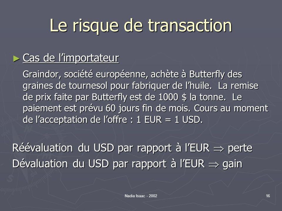 Nadia Isaac - 200216 Le risque de transaction Cas de limportateur Cas de limportateur Graindor, société européenne, achète à Butterfly des graines de