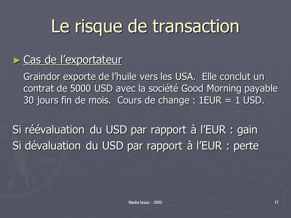 Nadia Isaac - 200217 Le risque de transaction Cas de lexportateur Cas de lexportateur Graindor exporte de lhuile vers les USA. Elle conclut un contrat