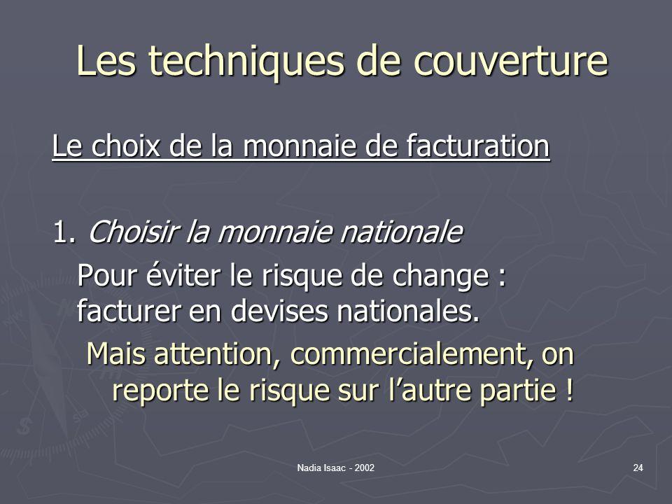Nadia Isaac - 200224 Les techniques de couverture Le choix de la monnaie de facturation 1. Choisir la monnaie nationale Pour éviter le risque de chang