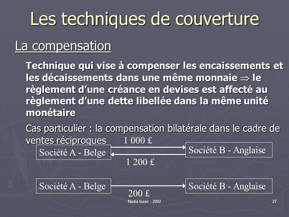 Nadia Isaac - 200227 Les techniques de couverture La compensation Technique qui vise à compenser les encaissements et les décaissements dans une même