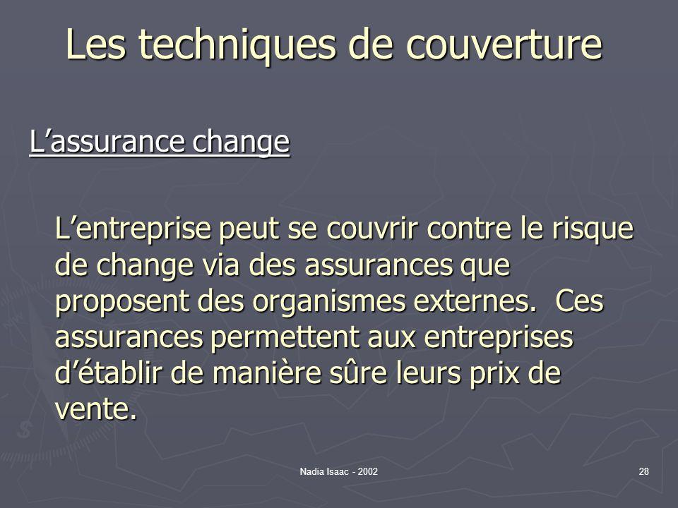 Nadia Isaac - 200228 Les techniques de couverture Lassurance change Lentreprise peut se couvrir contre le risque de change via des assurances que prop