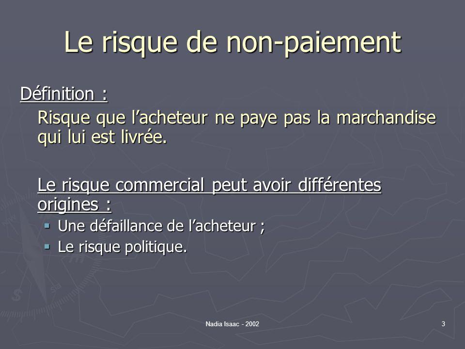 Nadia Isaac - 20023 Le risque de non-paiement Définition : Risque que lacheteur ne paye pas la marchandise qui lui est livrée. Le risque commercial pe