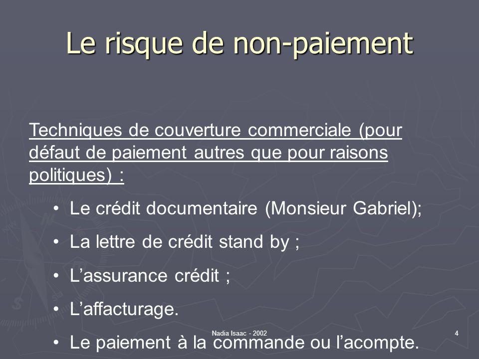 Nadia Isaac - 200215 Le risque de transaction Le risque de transaction découle des délais de paiement les taux déchange entre les monnaies peuvent fluctuer entre la négociation du contrat et la date de paiement.