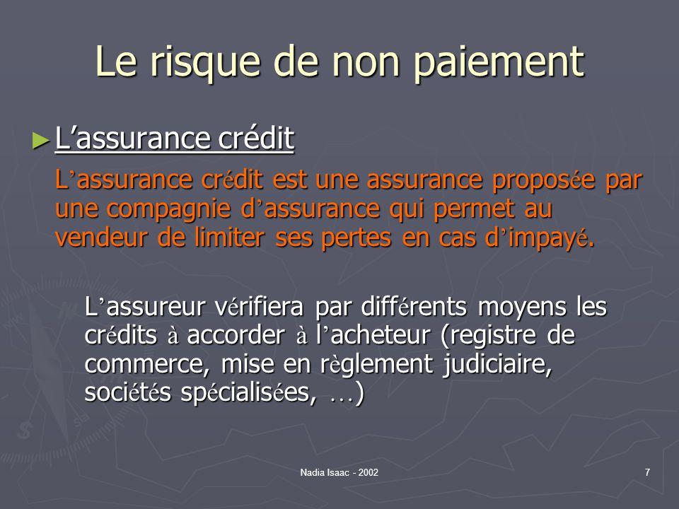Nadia Isaac - 20028 Le risque de non-paiement Lassurance crédit (suite) – Principes Lassurance crédit (suite) – Principes Le montant assur é ne couvre jamais la totalit é de la cr é ance.