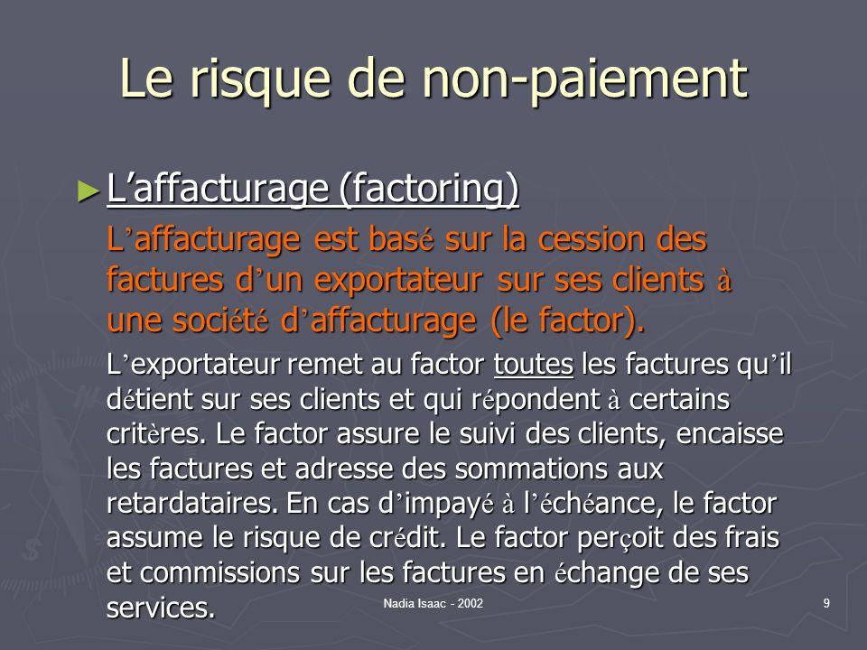 Nadia Isaac - 20029 Le risque de non-paiement Laffacturage (factoring) Laffacturage (factoring) L affacturage est bas é sur la cession des factures d