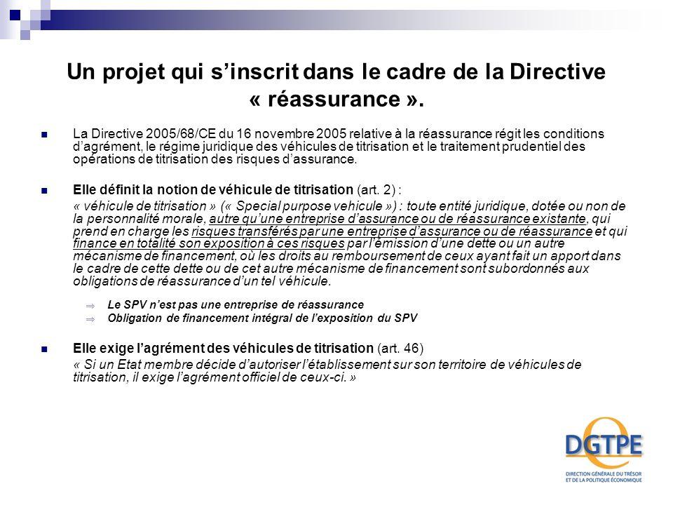 Un projet qui sinscrit dans le cadre de la Directive « réassurance ». La Directive 2005/68/CE du 16 novembre 2005 relative à la réassurance régit les