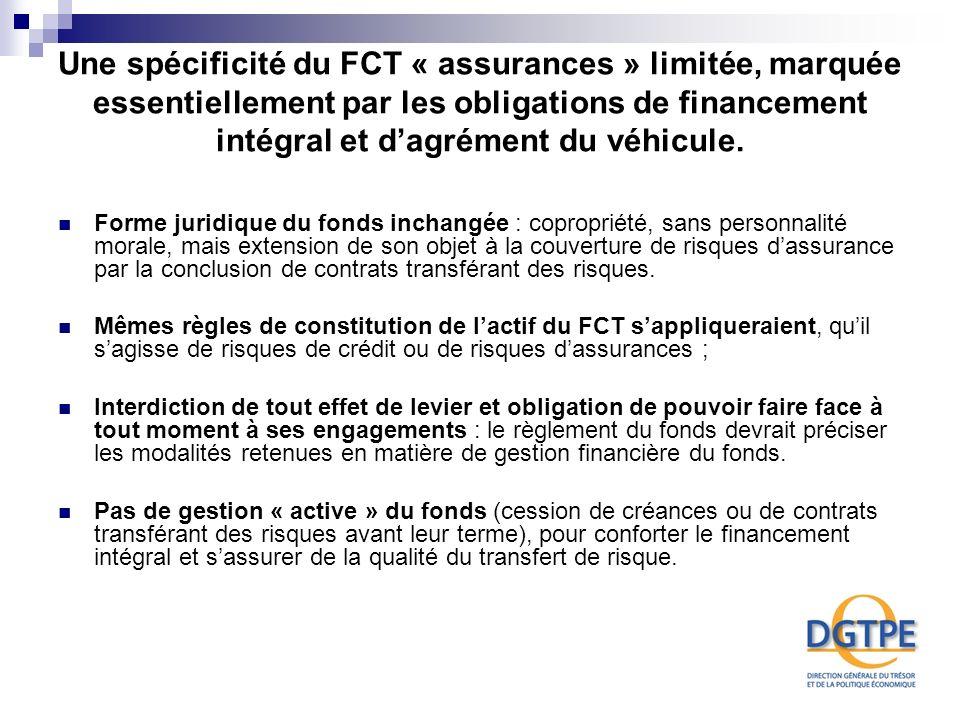 Une spécificité du FCT « assurances » limitée, marquée essentiellement par les obligations de financement intégral et dagrément du véhicule. Forme jur