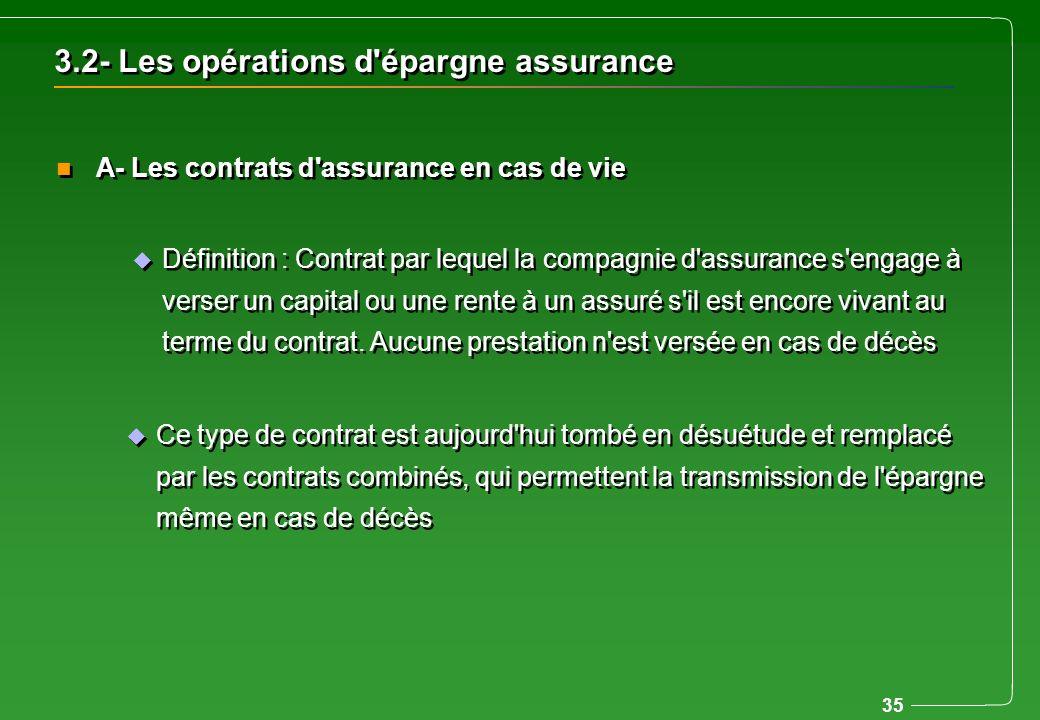 35 u Définition : Contrat par lequel la compagnie d'assurance s'engage à verser un capital ou une rente à un assuré s'il est encore vivant au terme du