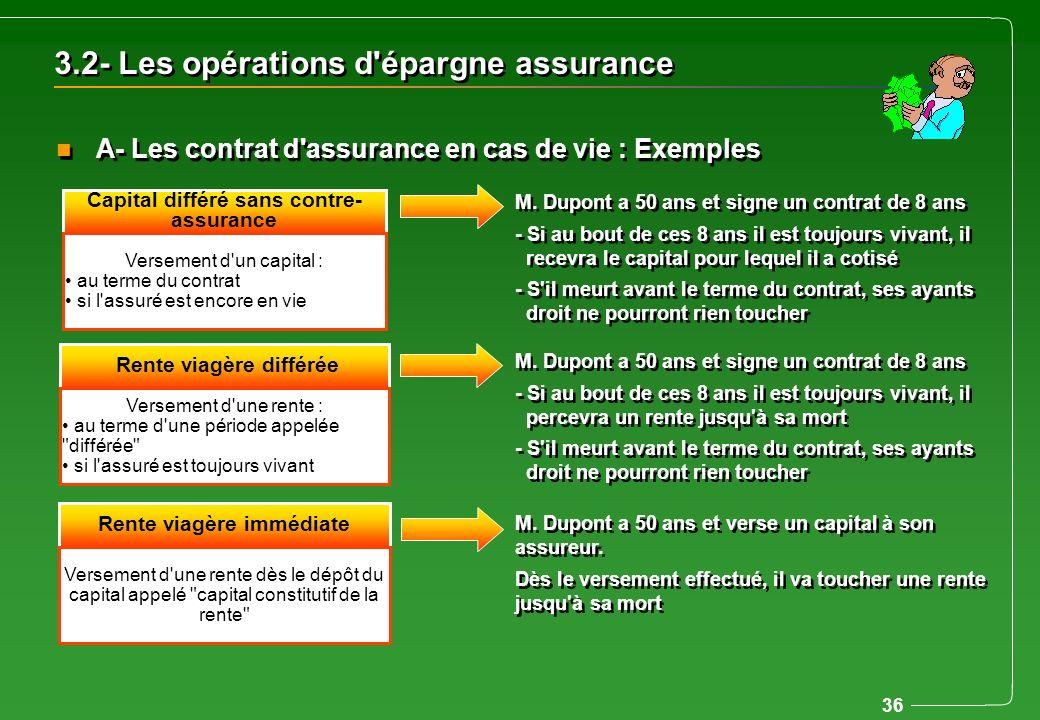 36 3.2- Les opérations d'épargne assurance n A- Les contrat d'assurance en cas de vie : Exemples Capital différé sans contre- assurance Versement d'un