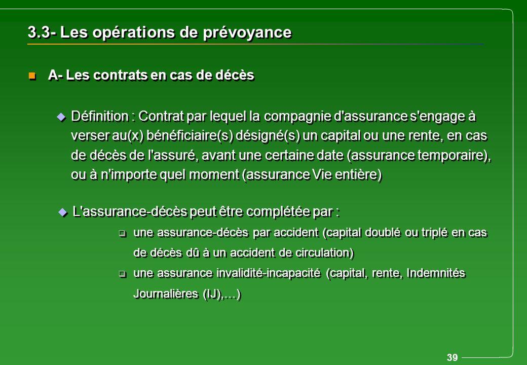 39 n A- Les contrats en cas de décès u L'assurance-décès peut être complétée par : q une assurance-décès par accident (capital doublé ou triplé en cas